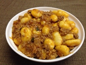 Gluten free gnocchi with homemade bolognese sauce
